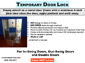 TEMPORARY DOOR LOCKS
